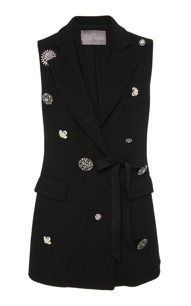 Lela Rose Crystal Button-Embellished Wool-Blend Vest in black