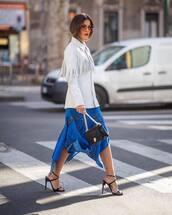 jacket,leather jacket,white jacket,fringes,black sandals,black bag,midi skirt,asymmetrical skirt,blue skirt