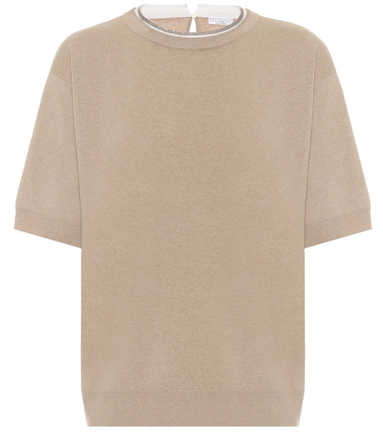 Brunello Cucinelli Wool, cashmere, and silk sweater in beige