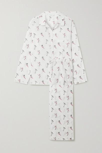 Pour Les Femmes - Printed Cotton-voile Pajama Set - White