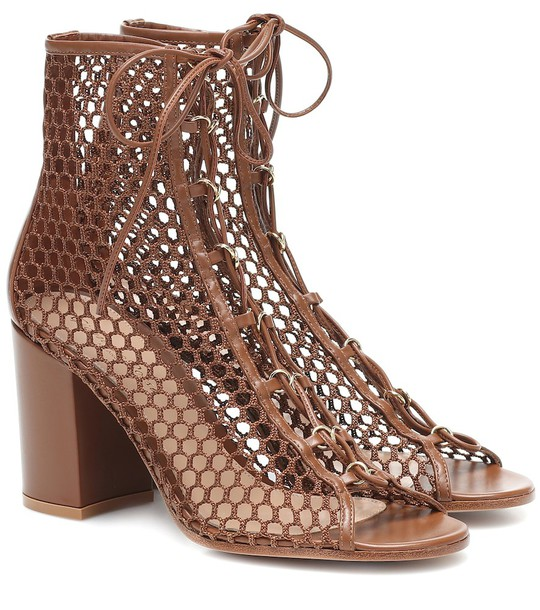 Gianvito Rossi Fishnet and leather ankle boots in brown