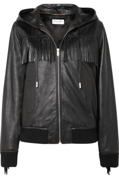 SAINT LAURENT - Hooded Fringed Wool-trimmed Leather Jacket - Black