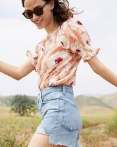 top,shorts,sunglasses