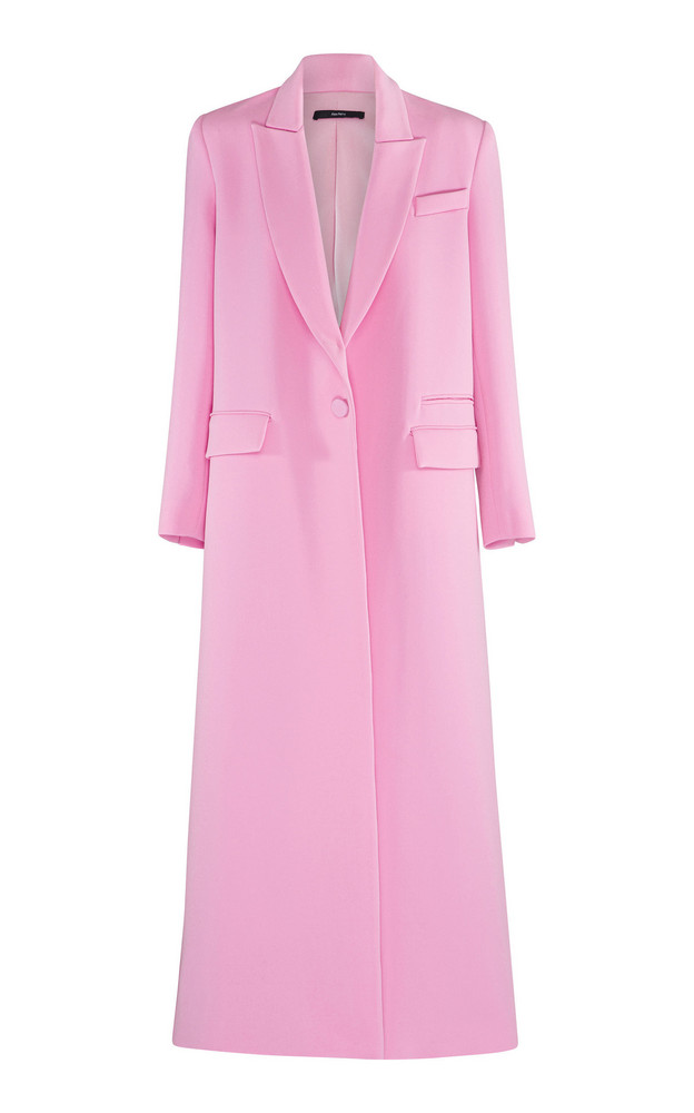 Alex Perry Huntley Structured Crepe Long Coat in pink