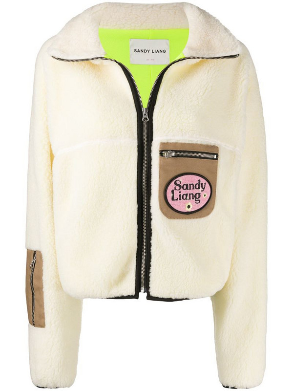 Sandy Liang contrast pockets shearling jacket in neutrals