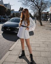 dress,white dress,oversized shirt,black boots