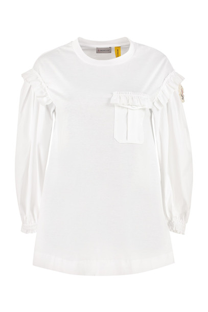 Moncler Ruffled Long Sleeve T-shirt in white