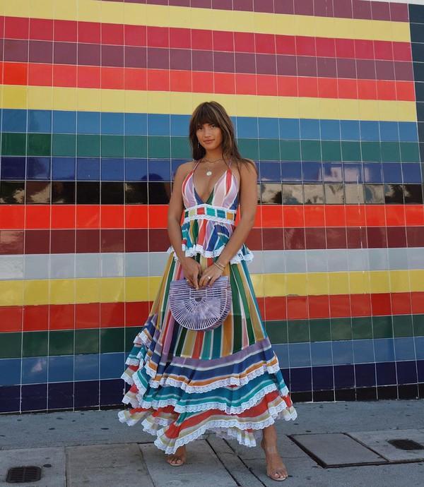 dress maxi dress long dress stripes sandals bag
