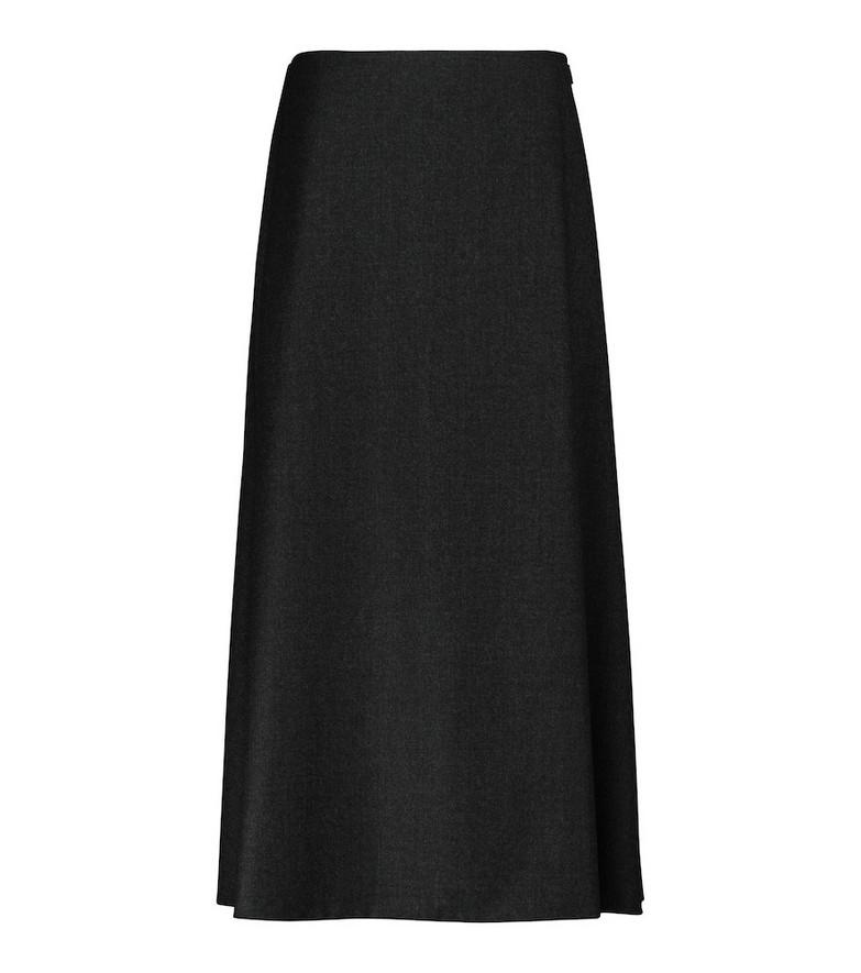 The Row Tinna virgin wool midi skirt in grey