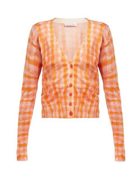 Altuzarra - Natalia Gingham Silk And Cotton Blend Cardigan - Womens - Orange Multi