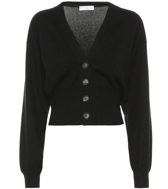 Brunello Cucinelli Cropped cashmere cardigan in black