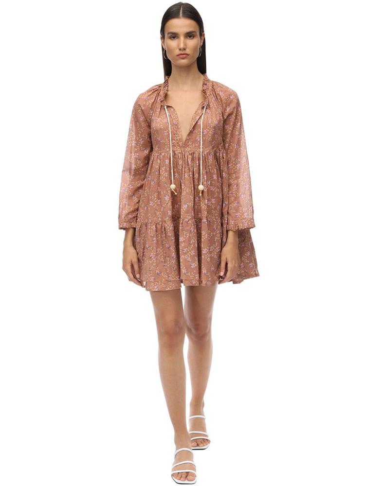 YVONNE S Volang Double Cotton Voile Mini Dress in pink
