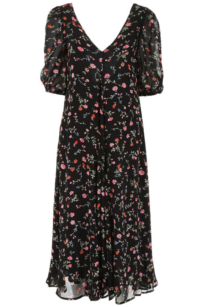 Ganni Floral-printed Dress in black