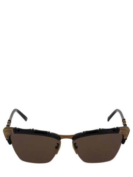 GUCCI Bamboo Effect Cat Eye Sunglasses in black / brown