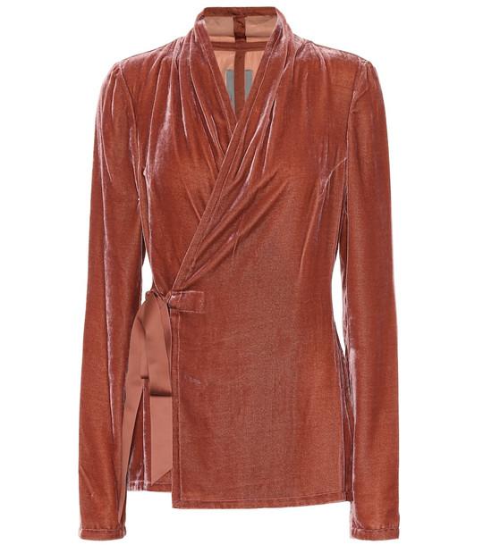 Rick Owens Silk-blend velvet top in pink