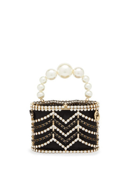 Rosantica - Holli Chevron Crystal-embellished Caged Bag - Womens - Black And White
