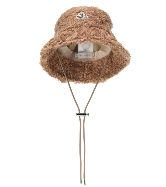 Moncler Faux-shearling bucket hat in beige