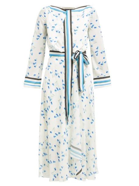 Roland Mouret - Fernandina Floral Print Seersucker Crepe Dress - Womens - Blue Print