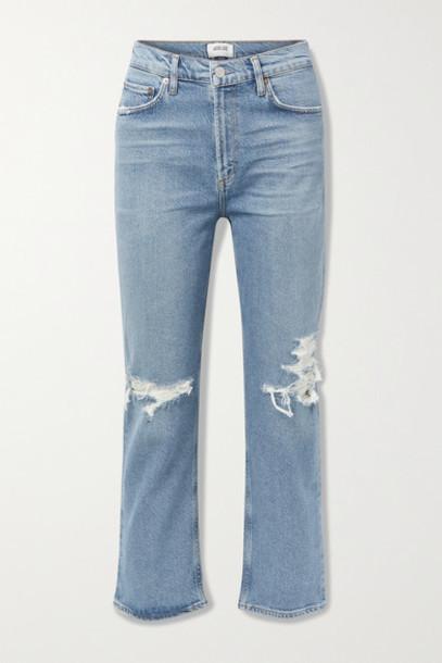 AGOLDE - Wilder Organic Mid-rise Distressed Straight-leg Jeans - Mid denim