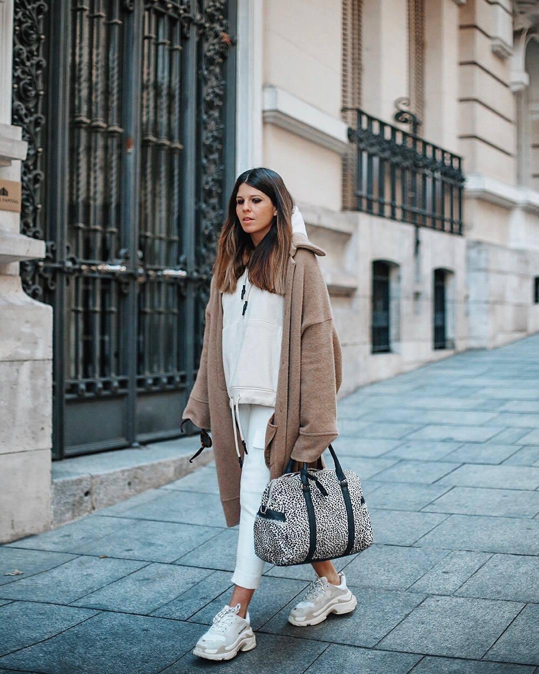 bag polka dots white sneakers balenciaga white pants capri pants beige coat celine white hoodie