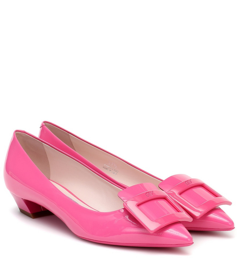 Roger Vivier Gommetine 25 patent-leather ballet flats in pink