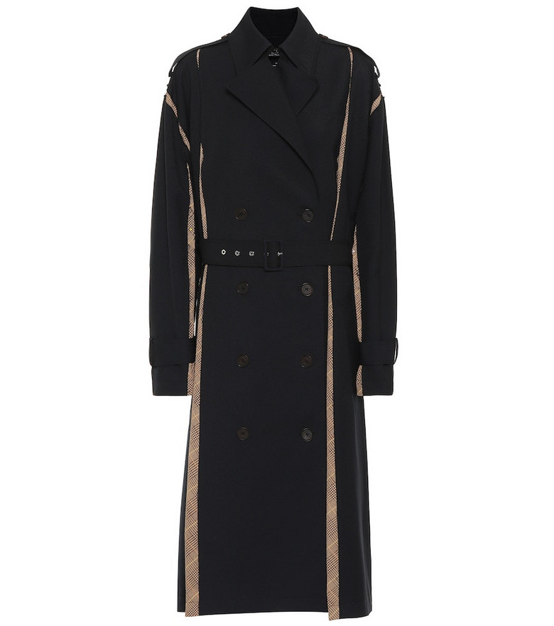 Rokh Twill and crêpe trench coat in blue