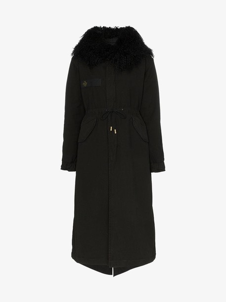 Mr & Mrs Italy hooded shearling parka coat in black