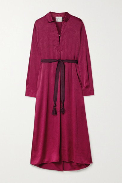 forte forte - Belted Canvas-trimmed Crinkled-satin Midi Dress - Magenta