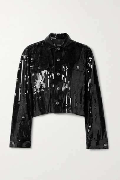 Junya Watanabe - Cropped Sequined Chiffon Jacket - Black