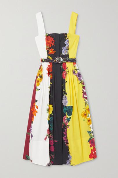 Oscar de la Renta - Floral-print Stretch-cotton Poplin Midi Dress - Yellow