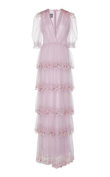 Monique Lhuillier Sequin-Embellished Tiered Tulle Gown in pink