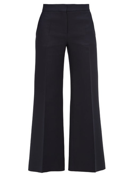 Valentino - Crepe Couture Wool-blend Kick-flare Trousers - Womens - Navy