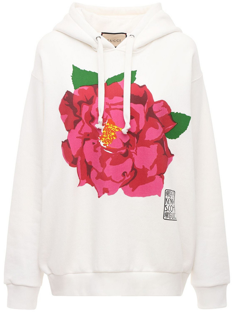 GUCCI Flower Printed Cotton Jersey Hoodie in white