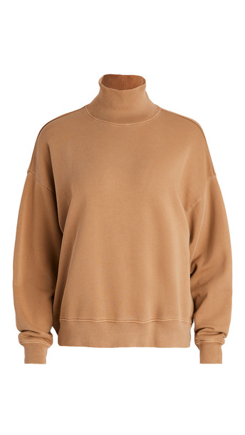 FRAME Funnel Neck Sweatshirt in camel