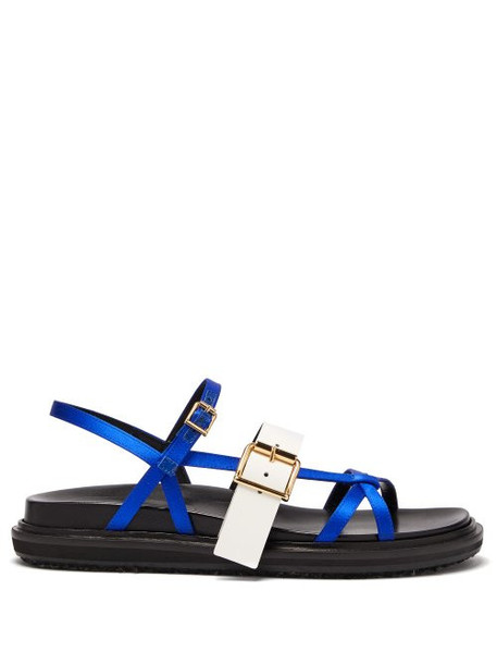 Marni - Fussbett Satin And Patent Leather Sandals - Womens - Blue White