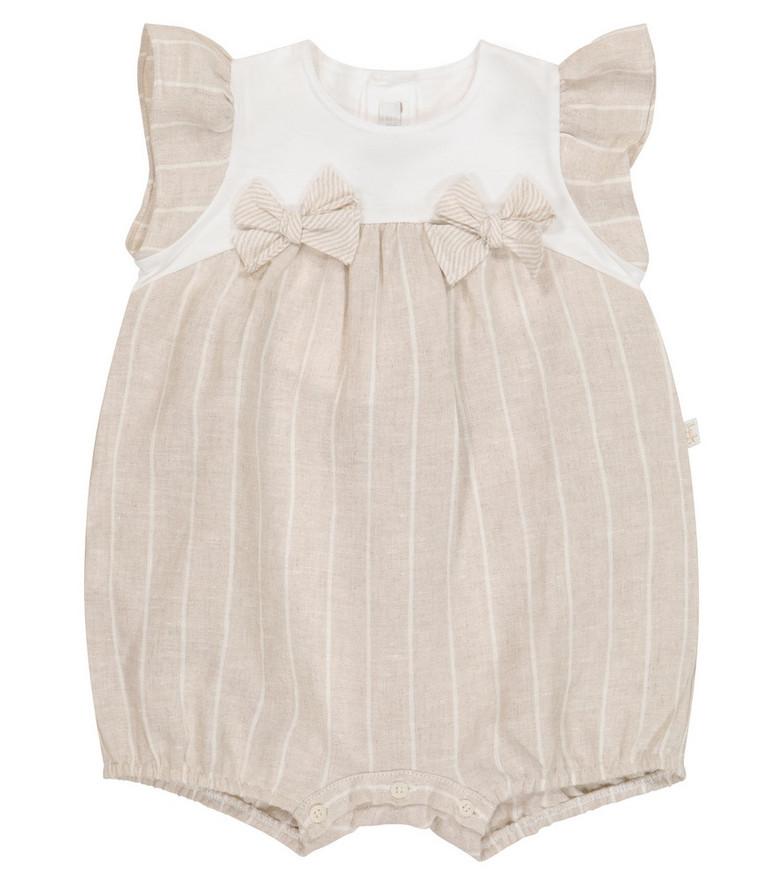 Il Gufo Baby striped cotton romper in beige