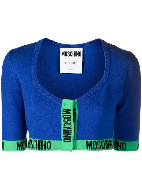 Moschino logo trim cropped cardigan in blue