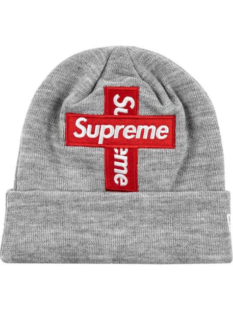 "Supreme New Era cross box-logo beanie ""FW 20"" in grey"