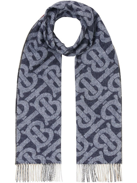 Burberry reversible cashmere check scarf in blue