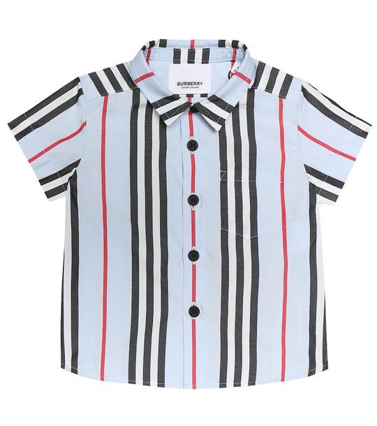 Burberry Kids Baby Icon Stripe cotton-poplin shirt in blue