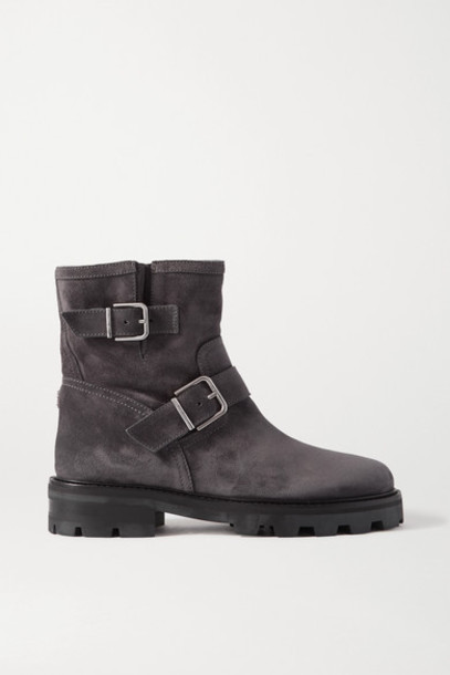 Jimmy Choo - Youth Ii Buckled Suede Ankle Boots - Gray
