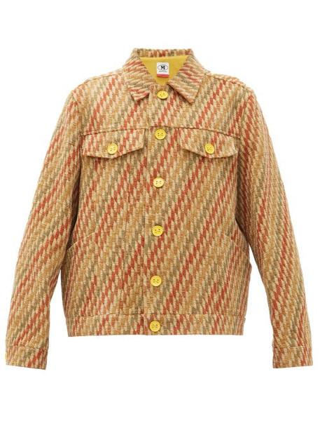 M Missoni - Boxy Striped Upcycled-jacquard Jacket - Womens - Beige Multi