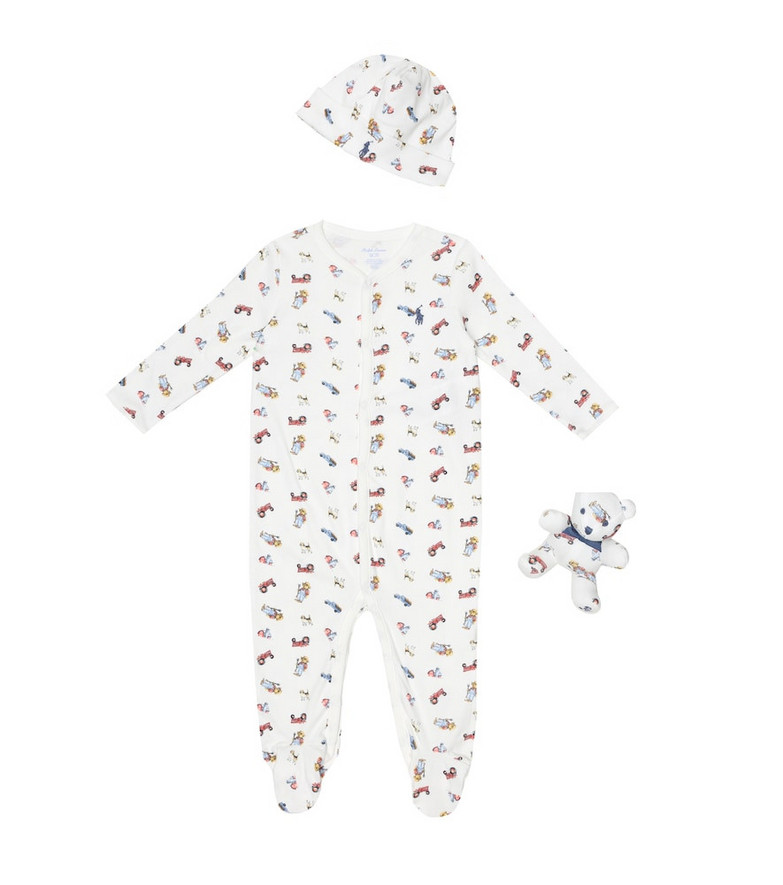 Polo Ralph Lauren Kids Baby cotton onesie, hat and toy set in white