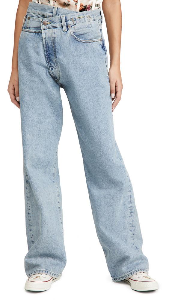 R13 Wide Leg Cross Over Jeans in blue