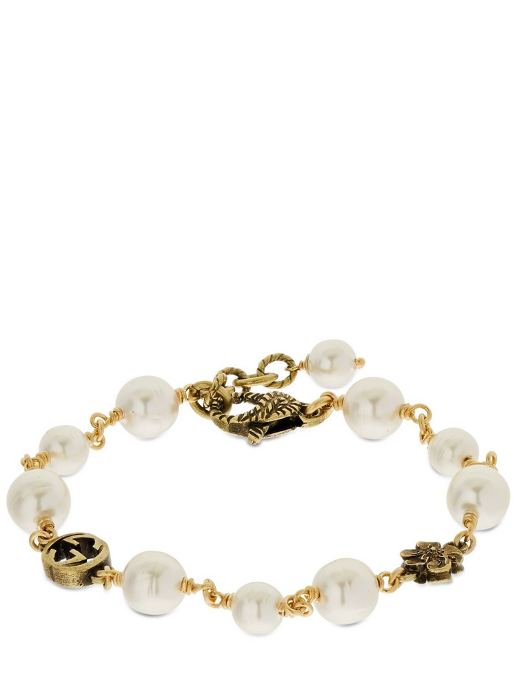 GUCCI Gg Flower Imitation Pearl Bracelet in gold / cream