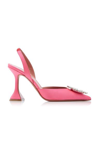 Amina Muaddi Begum Crystal-Embellished Satin Slingback Pumps in pink
