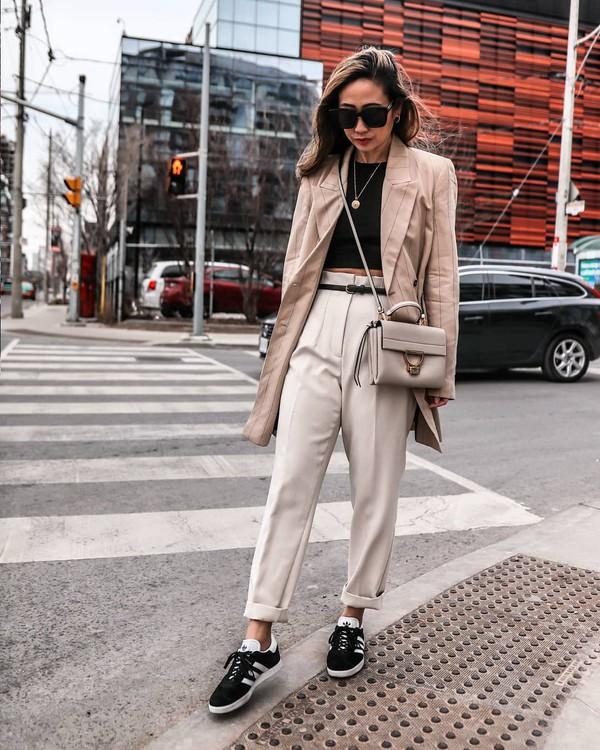 pants grey pants high waisted pants black sneakers adidas blazer black top crop tops crossbody bag