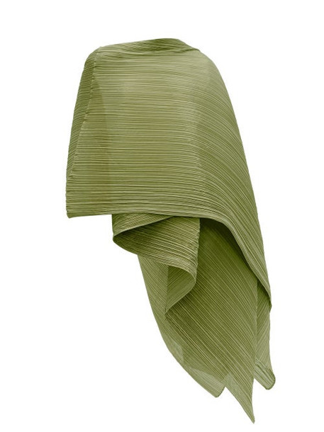 Pleats Please Issey Miyake - Madame T Pleated Scarf - Womens - Khaki