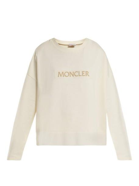 Moncler - Velvet Logo Cotton Sweatshirt - Womens - White
