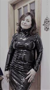 dress,fetish,chubby,fat,mature,tight,shiny,glossy,classy,big breasts,rainwear,latex,pvc,pencil dress,midi,hobble,plus size,pinterest,turtleneck,vinyl,big breast,long sleeves,vertical seam